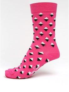 Șosete roz cu model geometric pentru femei - Happy Socks Diamond