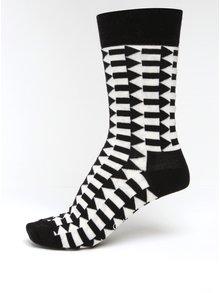 Krémovo-čierne dámske vzorované ponožky Happy Socks Direction