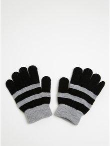 Šedo-černé klučičí pruhované rukavice Name it Magic
