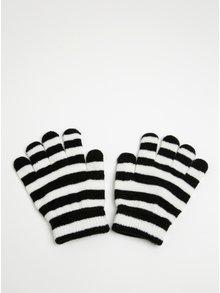 Krémovo-černé holčičí pruhované rukavice Name it Magic