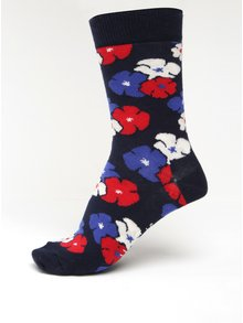 Tmavomodré dámske kvetované ponožky Happy Socks Kimono