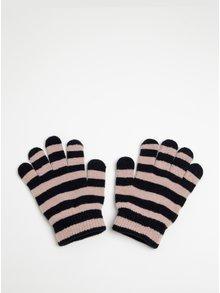 Čierno-ružové dievčenské pruhované rukavice name it Magic