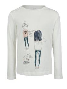 Krémové dievčenské tričko s dlhým rukávom name it Jamin