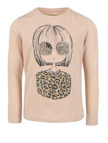 Staroružové dievčenské tričko s potlačou name it Jamin