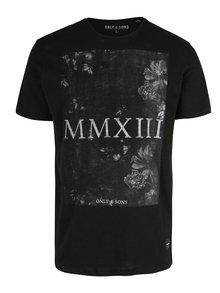 Černé žíhané tričko s potiskem ONLY & SONS Max