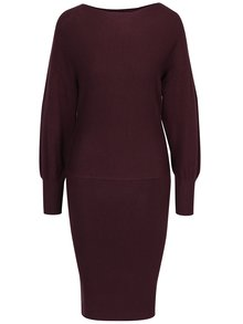 Vínové svetrové šaty s dlouhým rukávem VILA Noma