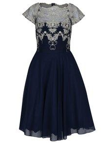 Tmavomodré šaty s čipkovaným topom Chi Chi London Riri