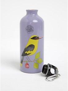 Fialová fľaša na vodu s motívom vtáčika Gift Republic