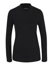 Čierne rebrované tričko s golierikom Selected Femme Aria