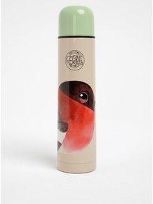 Zeleno-krémová termoska s motivem ptáčka Gift Republic