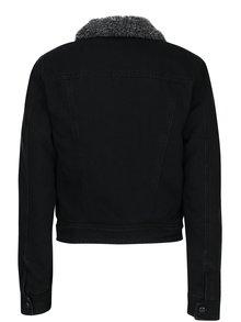 Jachetă neagră din denim cu blană ONLY Chris