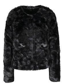 Čierny krátky kabát z umelej kožušiny ONLY Winnie