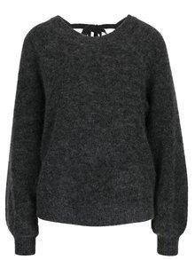 Tmavě šedý žíhaný vlněný svetr s příměsí mohéru Selected Femme Kaila