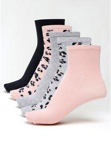 Súprava piatich párov dievčenských ponožiek v sivej a ružovej farbe name it Vilde