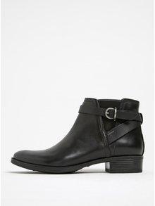 Čierne kožené členkové topánky na podpätku Geox Meldi NP