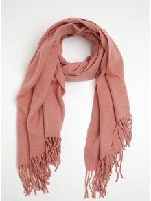 Eșarfă roz din amestec de lână Pieces Jira