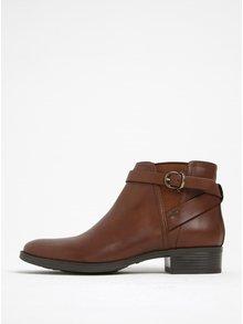 Hnědé kožené kotníkové boty Geox Meldi P