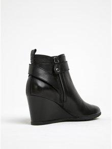 Černé dámské kožené boty na klínku Geox Inspirat D