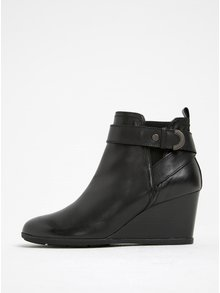Čierne dámske kožené topánky na klinovom podpätku Geox Inspirat D