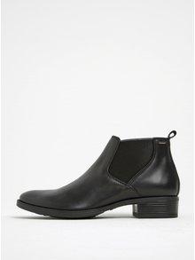 Čierne kožené chelsea topánky na podpätku Geox Meldi NP