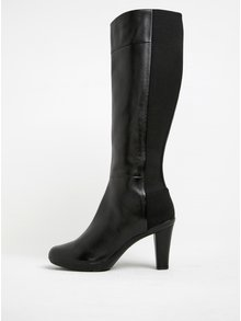 Čierne dámske kožené čižmy na podpätku Geox Inspirat C