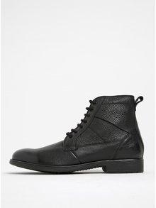 Čierne pánske kožené členkové topánky Geox Jaylon C