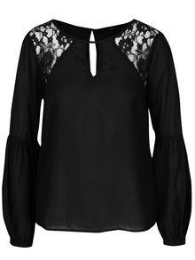 Bluză neagră cu dantelă și mâneci balon ONLY Kicka