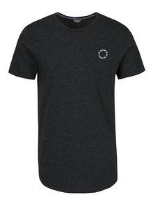Tmavosivé melírované tričko s potlačou Jack & Jones Mesut