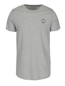 Světle šedé žíhané tričko s potiskem Jack & Jones Mesut
