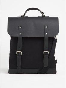 Černý batoh/brašna s koženými detaily Enter Messenger Tote
