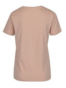 Tricou roz cu print din catifea ONLY Sabina Proud