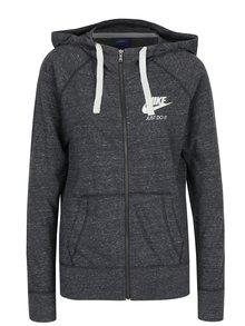 Tmavě šedá dámská žíhaná mikina s kapucí Nike Sportswear Gym
