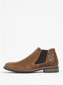 Hnedé pánske kožené chelsea topánky s detailmi Bullboxer