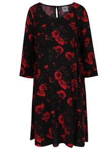 Rochie negru&roșu cu imprimeu floral Mama.licious Romance