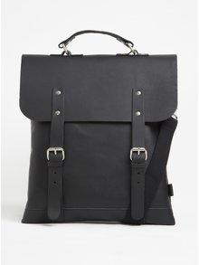 Černý kožený batoh/brašna Enter Messenger Tote