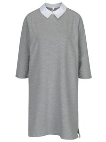 Světle šedé žíhané šaty s límečkem ONLY Mandy