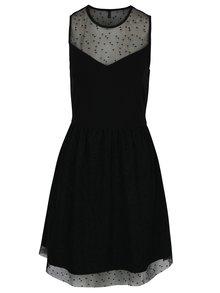 Černé šaty s průsvitnou horní částí a jemným vzorem ONLY Niella