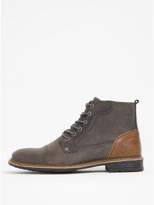 Hnědo-šedé pánské kožené kotníkové boty Bullboxer