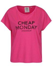 Ružové dámske voľné tričko s potlačou Cheap Monday