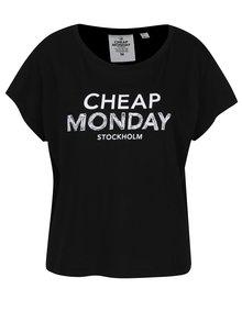 Čierne dámske voľné tričko s potlačou Cheap Monday
