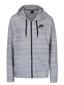 Světle šedá dámská žíhaná mikina s kapucí Nike Sportswear Advance 15