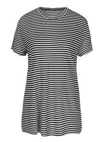 Čierno-biele dámske pruhované voľné tričko s prestrihom na chrbte Cheap Monday