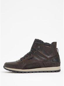 Šedo-hnědé pánské kožené kotníkové boty s umělou kožešinou Bullboxer