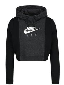 Hanorac crop negru cu gri pentru femei Nike Sportswear Rally