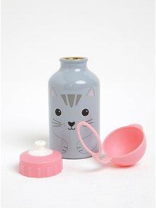 Sivo–ružová fľaša s mačkou Sass & Belle Nori Cat Kawaii
