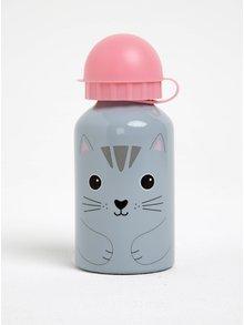 Šedo-růžová láhev s kočkou Sass & Belle Nori Cat Kawaii