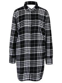 Sivo-čierne kárované voľné košeľové šaty s prestrihom na chrbte Cheap Monday