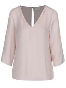Bluză roz pal cu mâneci 3/4 VILA Rustic