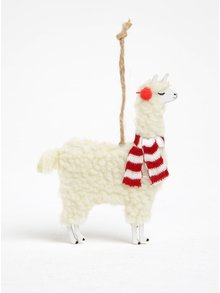 Krémový prívesok v tvare lamy Sass & Belle Festive Llama