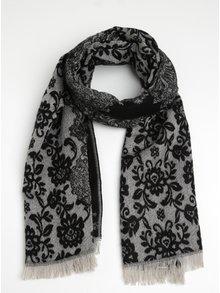 Sivo-čierny vzorovaný šál ONLY Patrice